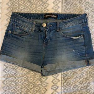 Express cuffed denim shorts